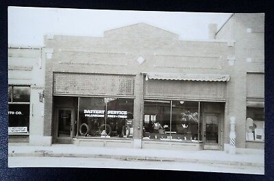 Vintage Rppc Ford Battery Service Auto Tires & Miller Barber Shop
