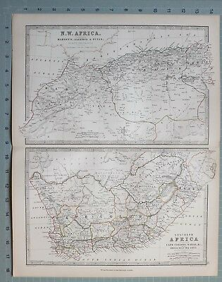 1873 Large Victorian Map North West Africa Marocco Algeria Cape Colony Natal