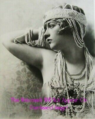 Old VINTAGE Antique Gorgeous GYPSY Child BELLY DANCER w TAMBOURINE Photo Reprint