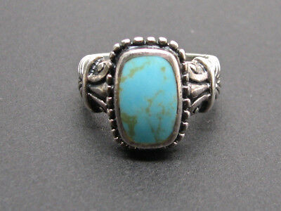 Vintage Cfj Ring 925 Sterling Silver With Rectangular Turquoise Blue Stone