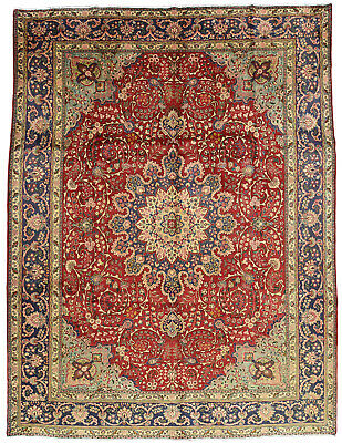 Vintage Persian Classic Floral Design Rug, 10'x13', Red/Blue, All wool pile