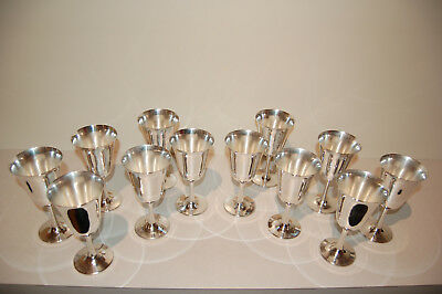 """Set Of 12 Crescent Silver MFG Silverplate Wine Champagne Goblets Glasses 6 5/8"""""""