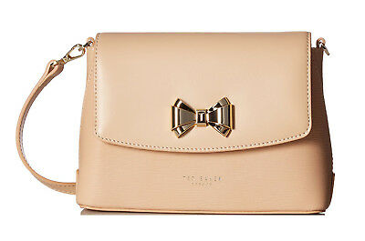4bb177fbe320b NWT TED BAKER Tessi Curved Bow Leather Crossbody Bag - Taupe ...