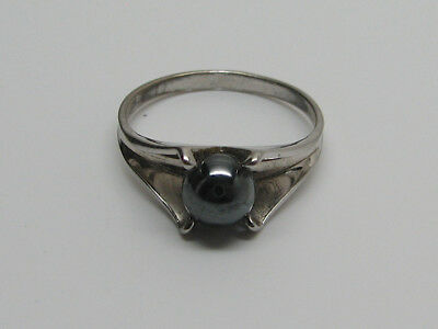 Vintage  Ring Sterling Silver Grey Color Round Hematite Stone Size 9