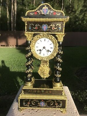 Antique French Empire Twisted Column Portico Clock Ormolu Decorated Brass Enlays