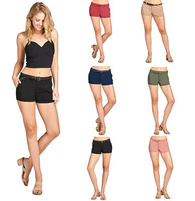 Womens Casual Low Rise Cuffed Shorts