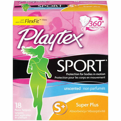 Playtex Sport Tampons - S+ Super Plus - Unscented - 18 Plastic Tampons