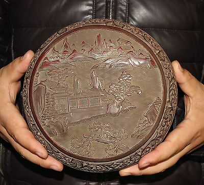 Big Ancient chinese Carved lacquerware box