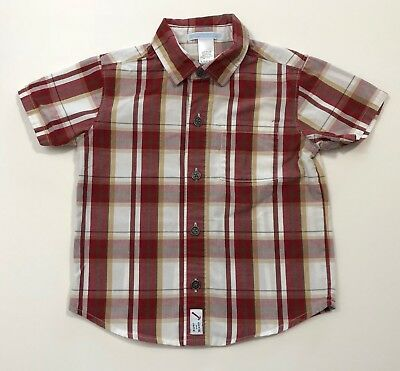 JANIE AND JACK Treehouse Days Red Plaid Button Up Shirt Size 18-24 Months EUC