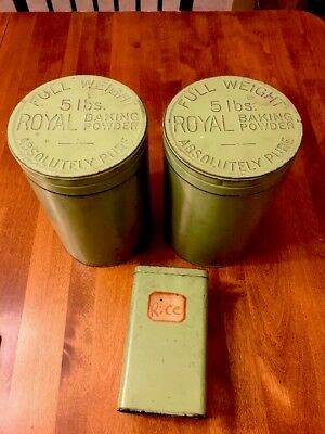 Royal Baking Powder 5 lbs Full Weight Absolutely Pure 3 Lot old tin embossed lid