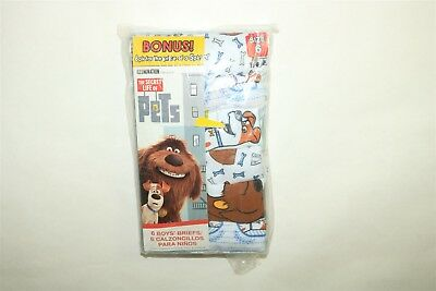 LOT OF 6 PAIR THE SECRET LIFE OF PETS Boy's Character Combed Cotton Briefs - 6