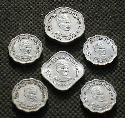 Lot Of Six Unique Coins Of Myanmar Former Burma  - Mix 960