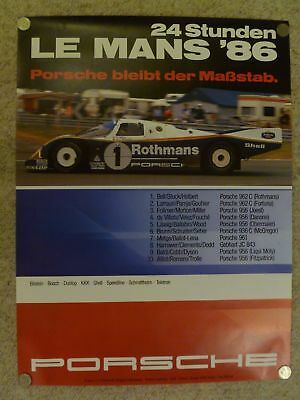 1986 Porsche 962 C 24 Hours of Le Mans Victory Showroom Advertising Poster RARE!