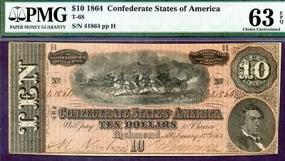 HGR T-68 1864 $10 Confederate ((WANTED UNC Grade)) PMG CHOICE UNC 63EPQ