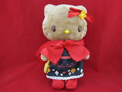 Sanrio Brown Hello Kitty Plush With Red Jacket & Boots & Black Dress with Mushro