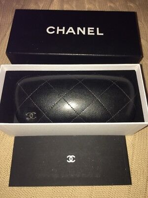 CHANEL Black Quilted Sunglasses Case In Box, Booklet And Authentic Card ID