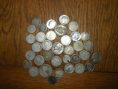 Canada Silver Coins 35 Total Cull Junk Some Good US War Nickles Dimes Worn Lot