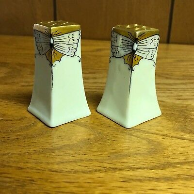 Art Deco Porcelain Iridescent Butterfly Salt and Pepper Shakers by D.H.