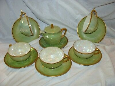 SET 12 Vintage Fine China Teacup and Saucer CREAMER  Gold Green  Japan
