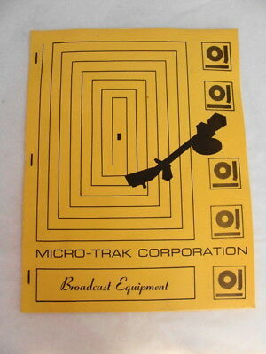 Vintage Micro-Trak Broadcast Equipment Specs Manual