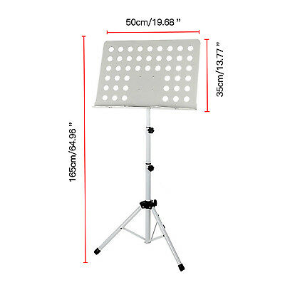 Professional Orchestral Sheet Music Holder White Fold Adjustable Metal Stand