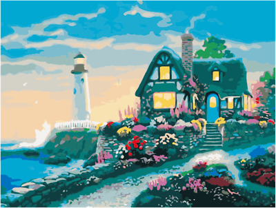 """Sea Island Cabin Lighthouse Paint By Number 16x20"""" DIY Acrylic Painting Canvas"""
