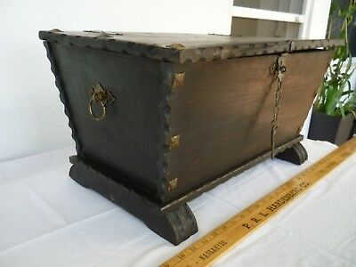 vintage,dark,wooden trunk,chest,low table,storage box with brass embellishments
