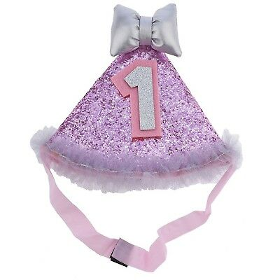 Lux Accessories Baby girl's 1 Year Old Birthday Glitter Hat Headband