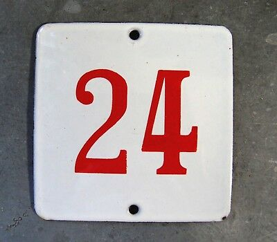 ANTIQUE VINTAGE FRENCH ENAMEL PORCELAIN DOOR HOUSE NUMBER SIGN 3.54 inches N° 24