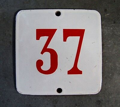 ANTIQUE VINTAGE FRENCH ENAMEL PORCELAIN DOOR HOUSE NUMBER SIGN 37 3.54 inches