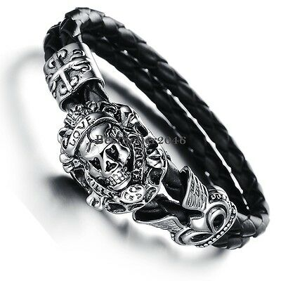 "Stainless Steel Vintage Cross "" Love"" Skull Braided Leather Mens Bracelet Bangle"