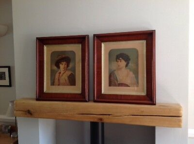 Pair of Antique Framed Oleographs Portrait (Large 55.5cm by 47.8cm) Painting