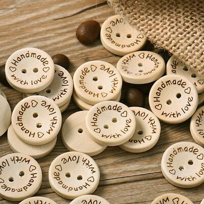 100pcs Wood Butterfly Handmade 2 Holes Wooden Buttons Sewing Scrapbooking DIY*s