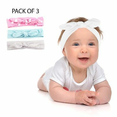 Lux Accessories Polka Dot Knotted Baby Girl Infant Hair Headband Set 3PC