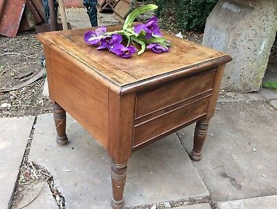 Antique Victorian Mahogany Commode. Table. Ideal Sewing Box Conversion