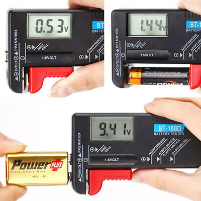 Battery Volt Tester Checker Universal Digital AA/AAA/C/D/9V/1.5V Button Cell