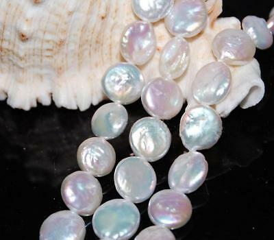 """Genuine 11-12mm Natural White Coin Freshwater Cultured Pearl Loose bead 15""""AAA"""