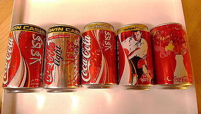 Set Of 05 Empty Can Coke Coca Cola Limited Edition From Uae 2005/2006/2007