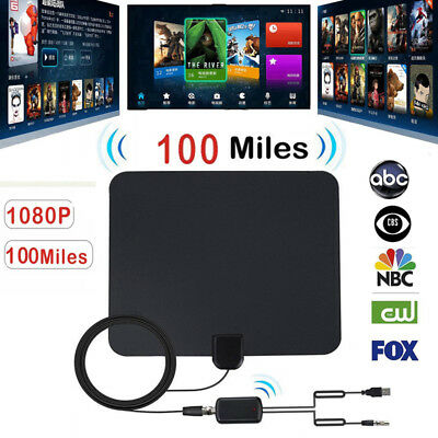 100 Mile Digital HDTV Indoor Antenna with TV Aerial Amplifier TV Antenna Durable