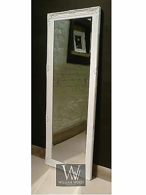 "Paris White Shabby Chic Full Length Antique Dress Mirror 59"" x 21"" (150 x 53cm)"
