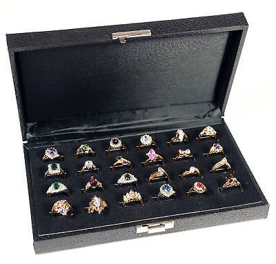 Ring Storage Display Travel Case 24 Wide Slot Organizer Wood Jewelry Latch Box
