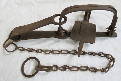 Hand Forged Iron Trap Old Antique Blacksmith Made Relic