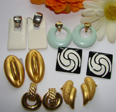 Vintage Lot Of 6  Pairs Clip On's   Chunky Style Earrings Some Signed