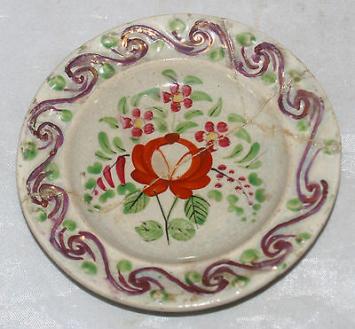 Antique English Pearlware Porcelain Cup Plate Lustre Kings Queens Rose Pattern