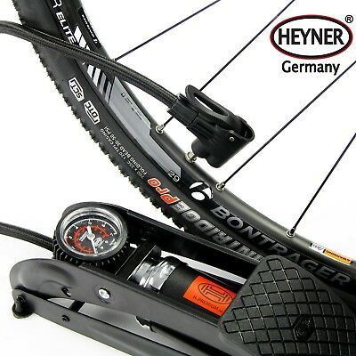HEYNER premium foot pump 7BAR 100PSI for car bike tyre Presta Shrader BLACK