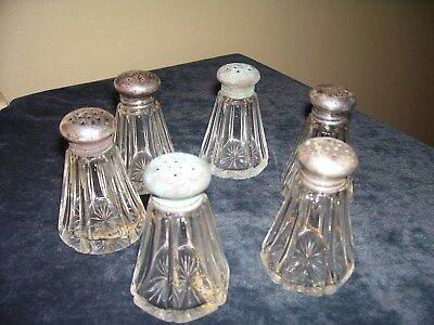 Vintage Lot Of 6 Pressed Glass Salt & Pepper Shakers W/ Sterling Tops