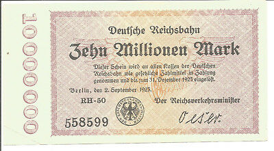 Reichsbahndirektion Berlin,10 Millionen Mark 1923,Wz.Verschl.Quadrate,gr.Ktnr.
