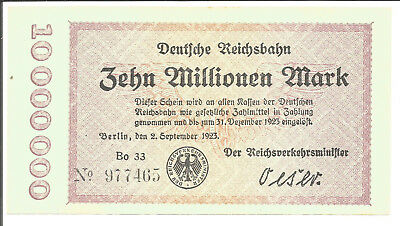 Reichsbahndirektion Berlin,10 Mill.Mark1923,Wz.Verschl.Quadrate,Var.No.v.d.Ktnr.