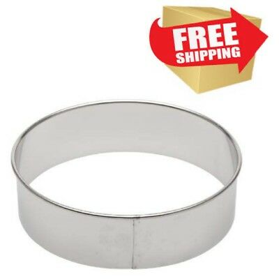 Round Stainless Steel Cutter Cut Cakes Pies Dough Cuts Metal Cookie Shape Circle