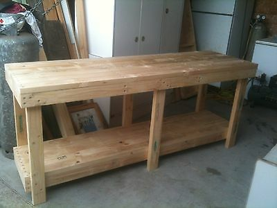 Custom Made Heavy Duty Timber Work Bench Table 2100 x 630 x 900